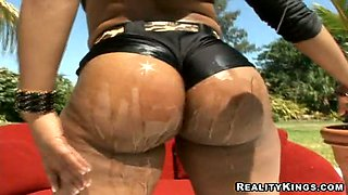 Ayana sucks a long dick before taking it into her black snatch
