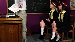 Cheeky cfnm schoolgirls give a blowjob