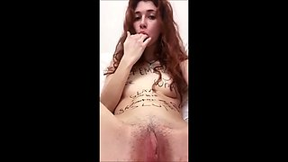 Teen slut writes on herself and inserts anal