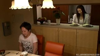 Experienced Japanese chick provides her partner with a nice titjob