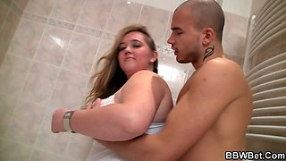 hot sex with fatty in the bathroom video