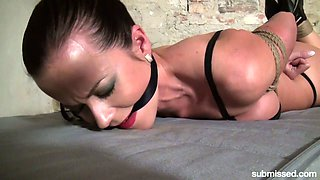 Big tittied whore Cindy Dollar is tied up and punished in the cold basement