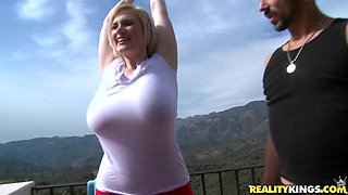 Hot short-haired blonde with huge natural tits gets fucked
