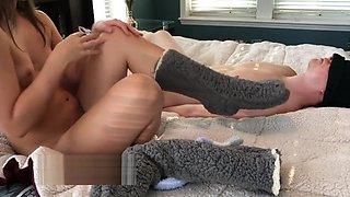 Mistress Gives Fuzzy Socks Footjob after Orgasm and Teasing - Miss Abbi