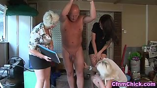 Cfnm lady strokes bound losers cock