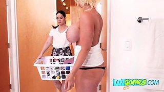 Hot blonde lesbian seduces her maid