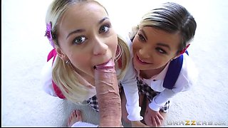two schoolgirls alex little and marsha may deepthroat one monster dick