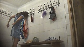 Lovely white young chicks on hidden voyeur camera from the locker room
