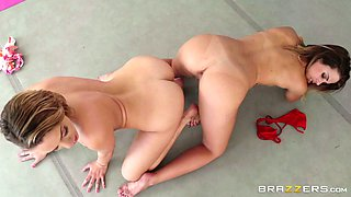 Two lesbians Keisha Grey Mia Malkova rubbing against each other and sucking trainer's cock