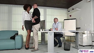 Bisexual office workers have sex with a beautiful ebony