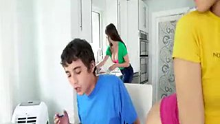 Mom sister and brother family fuck session