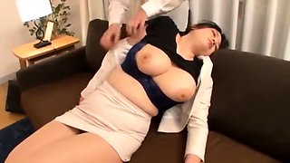 Sleeping Asian milf with big tits gets used by a horny guy