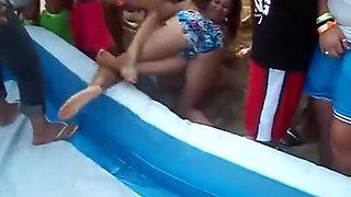 Bikini chicks wrestling for an audience