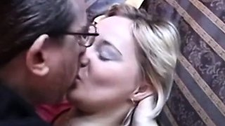 Young doggystyled retro amateur tits jizzed