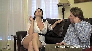 Mature brunette with big natural tits fucked in doggystyle