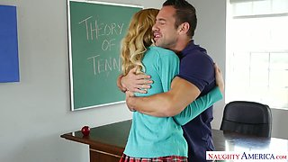 Cute blonde chick Alexa Grace gets her muff drilled in college
