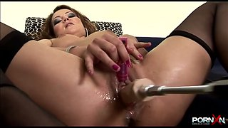 Greased up pussy hole is stretched wide with different sex toys