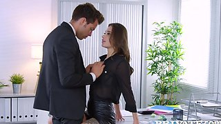 Tattooed beauty right in the office spreads her legs for sex with the ...