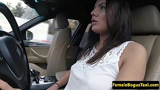 beautiful cabbie rides lucky passengers cock