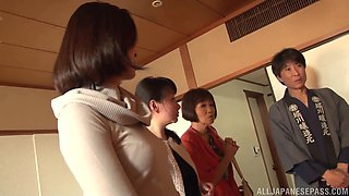 Brilliant threesome game for three Japanese mature women