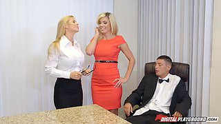 Two blonde honeys seduce an oblivious horny guy