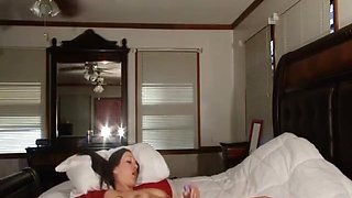 Wonderful amateur babe masturbates with a dildo on the bed