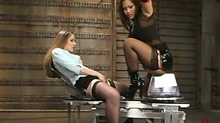 Blonde and Brunette Babes Masturbating and Getting Fucked with Machines