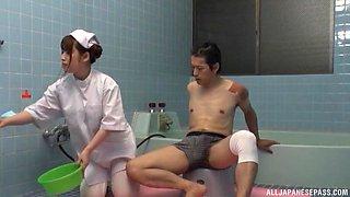 Sweet nurse pleases a kinky guy by jerking his hard pecker