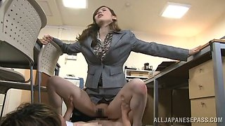 Naughty Secretary Yuri Ashina Having Sex int he Office with Her Coat On