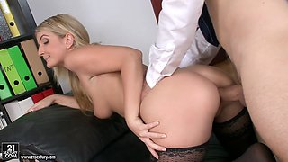 Blonde shaved secretary seduces her horny boss