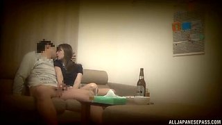 japanese housewife getting throbbed doggystyle on a couch after dinner