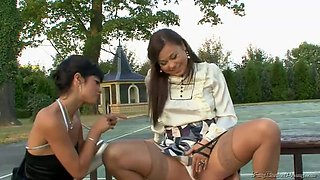 fucking pissing threesome at the tennis court