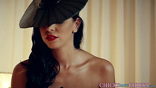 Dominant mistress strapon fucks her lesbian sub