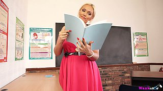 Sexy teacher with massive boobs Lucy Zara plays with her pussy right on the table