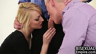 Hot Blonde Introduces Men To Bisex Fun!