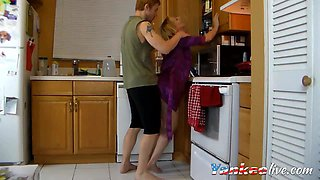 Hot blonde is wildly fucking on the kitchen counter with her boyfriend