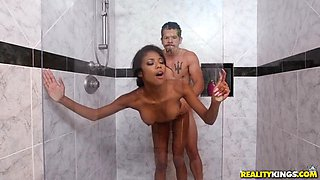 19yo nia nacci getting pounded standing in the shower