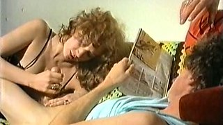 Redhead vintage white milf lady having sex on the couch and on the floor