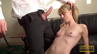 punished brit milf swallows warm cum of her big dick master
