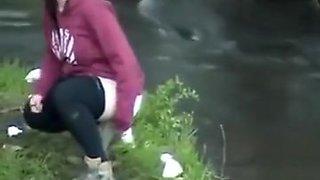 Group of desperate German girls enjoys peeing in the woods