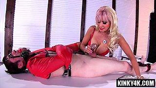 Busty mistress femdom with cumshot
