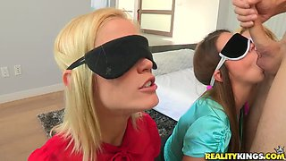 Three blind folded hungry sweeties have just one but big cock to blow