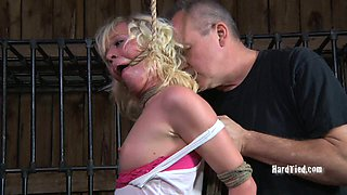 Bondage whore with a noose around her neck is punished hard