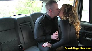 astonishing cabbie with fake tits gets fucked