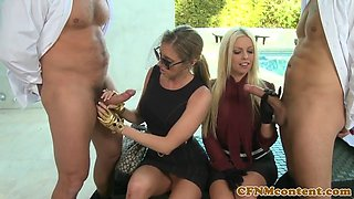 Glam CFNM widows banged in juicy pussy