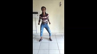 African sweetie performs nice dance (non-nude)