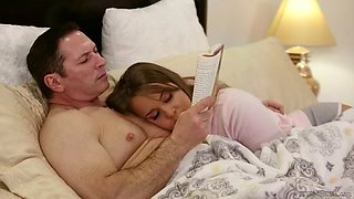 sweetie liza rowe is scared to sleep alone but stepdad's cock calms her