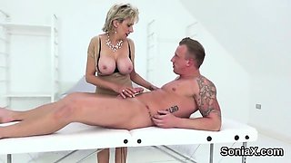 Unfaithful english milf lady sonia shows off her monster jug