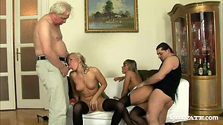 Cristal May and Milla get fucked by two old dudes