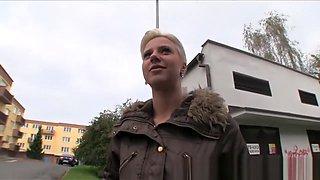 Tongue pierced blonde fucks in public